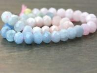 Нить огранённых бусин-микс, форма-рондель, камень натуральный-берилл: аквамарин, морганит. Цвет-полупрозрачный голубой, розовый, зелёный, оттенки нежные