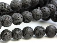 Бусины из вулканической лавы природного происхождения. Легкий камень с матовой бархатистой пористой поверхностью