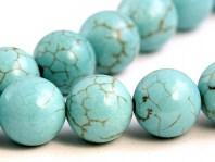 Бусины круглые полированные, камень натуральный говлит тонированный (под бирюзу), диаметр 12 (+-0,3)