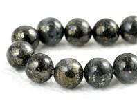 Бусины полированные, камень натуральный–кварц с пиритовыми включениями до 60%. Цвет-темно-серый с латунным блеском.