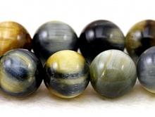 """Бусина круглая с эффектом """"кошачий глаз"""" полированный, камень натуральный петерсит, цвет-серо-голубой с бежевым и переливом, размер –10 мм."""