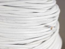 Кожаный шнур круглый 0.9-1.0 мм. в диаметре, цвет белый