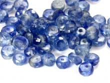 Камень огранённый -кордиерит натуральный, Цвет бусины - синий теплый неоднородный