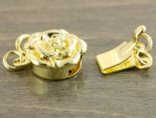 """""""Роза"""" замочек-застежка на 2 нити родированный для изготовления украшений, размер замочка: ширина/длина/высота-10,5х13,6х5,5 мм.,"""