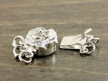 """""""Роза"""" замочек-застежка на 3 нити родированный для изготовления украшений, размер замочка: ширина/длина/высота-10,5х13,6х5,5 мм., цвет серебро,"""
