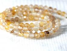Бусинашарик 3 мм. ограненный - камень-кварц золотой волосатик натуральный (семейство кварцевых).