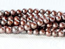 Бусины-жемчуг натуральный, пресноводный, цвет-серо-лилово, ровный, средний размер –4.5 мм.