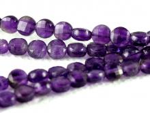 Камень-аметистнатуральный, форма бусин-таблетка огранённая.Цвет-фиолетовый сочный