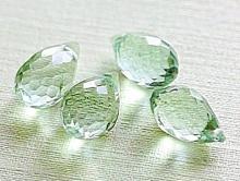 Бусина ограненная ф. капля (бриолет), камень натуральный-аметист (празеолит). Цвет-салатово-зелены
