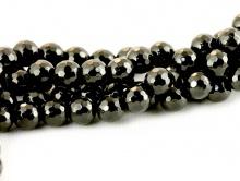 Бусина огранёная 8 мм.-камень агат черный. Цвет-угольно-черный.