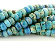 Бусины-рондели на браслет, каменьварисцит натуральный, тонированный. Цвет-сине-голубой, теплый.