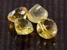 Бусина огранённая из натурального камня-цитрин, форма бусины луковка, цвет-тёплый золотисто-желтый яркий, чистый,