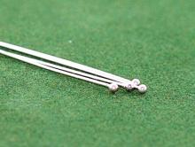 Пин средний серебряный с шариком 1.3 мм. для изготовления украшений. Размер д/т/шар-40х0.5х1.3 мм.