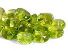 Бусина-рондель крупная ручной огранки, камень-хризолит натуральный