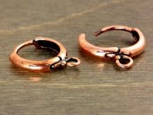 Швензы кольца с замком металлические, цвет-красная медь для создания серёжек