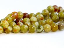 Бусина круглая, шарик гладкий, камень натуральный-хризопал (празопал, зелёный опал), цвет-неоднородный тёплый зелёный с янтарным оттенком,
