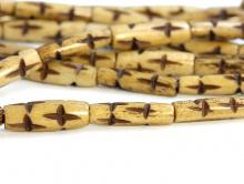 """Нить бусин, бусины костяные формы трубочка с резным рисунком """"звезды"""", материал-кость натуральная (животного происхождения) ручной обработки."""