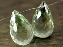 Бриолет удлинённый крупный, камень празеолит (зелёный аметист) цвет зелёно-салат