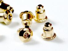 Заглушки с силиконовой вставкойна гвоздики-пусеты, для создания серег. Цвет-золото, состав силикон