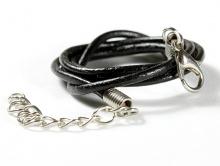 Шнурок кожаный2 мм. с замочком серебристым, длина-60 см. с цепочкой удлинителем 5.5 см.