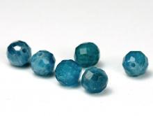Бусины огранённые шарики 5 мм.камень-апатит натуральный, очень красивый, теплый сине-голубого цвета, полупрозрачный
