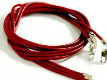 Кожаный шнурок с замком 925 пр. (цв. красный)