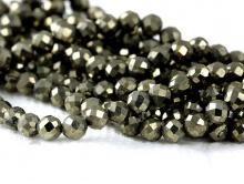 Бусины шарики огранённые, камень–пирит натуральный, цвет-темно-серый с характерным металлическим желтоватым блеском,