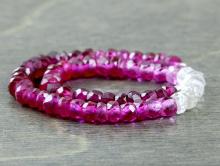 Камень -шпинель благородная, рондель(иск. выращенная)Цвет-открасного темного до розового-белого (3 тона).