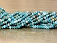 Ниточка бусин, камень апатит натуральный, рондель малая 2.7х2 мм. Нить 20 см.