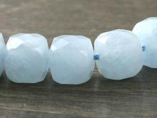 Бусина ограненная, форма-кубик, камень натуральный-аквамарин (разновидность берилла), неоднородный полупрозрачный.