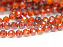 Нить бусин огранённых шариков, камень – циркон натуральный ограненный. Цвет-сочный оранжевый, прозрачный с хорошей огранкой,