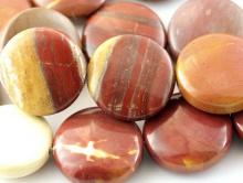 Бусины гладкие, форма плоской капли, натуральный камень яшма пейзажная, цвета-основные: