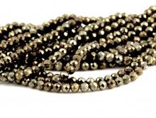 Бусины шарики огранённые, камень–пирит натуральный, цвет-темный с золотистым с сильным металлическим блеском,