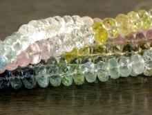 Класс ПРЕМИУМ прозрачный микс-нить бусин- берилловые рондели на нити