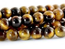 Бусина круглая, шарик гладкий 6 мм., камень натуральный–тигровый глаз, цвет-золотисто коричневый, с переливом