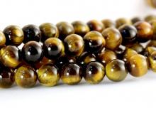 Бусина круглая, шарик гладкий 5 мм., камень натуральный–тигровый глаз, цвет-золотисто коричневый, с переливом,