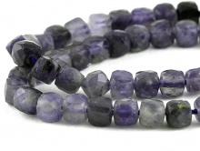 Камень-иолит натуральный, форма бусин-кубик огранённый.Цвет-приглушённый светло-синий, холодный, неоднородный,