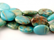 Бусина овальная камень Варисцит натуральный цвет бирюзово-голубой овал плоский
