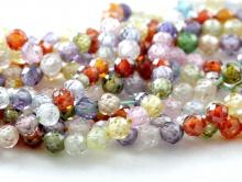 Нить бусин огранённых шариков, камень –циркон натуральный ограненный.Цвет-микспрозрачный с хорошей огранкой, диаметр-3.2 мм.