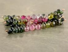 Бусины огранённые формы маленьких луковок, камень натуральный турмалин, цвет микс-розовый, зеленый, жёлтый, разной тональности,