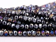 Стеклянные мелкие-бусины, рондели огранённые, размер: 4х3 мм. (+- 0,1 мм.). вн.отв. 0,6 мм. Цвет бусин-прозрачный фиолетовый с радужным переливом.