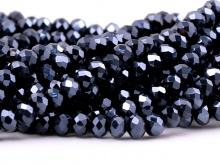 Стеклянные мелкие-бусины, рондели огранённые, размер: 4х3 мм. (+- 0,1 мм.). вн.отв. 0,6 мм. Цвет бусин-непрозрачный черный. Цена за нить 23 см.