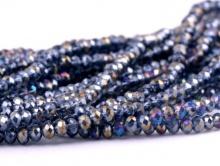 Рондели мелкие-бусины стеклянные огранённые, размер: 2,5х1.6 мм. (+- 0,1 мм.). вн.отв. 0,5 мм. Цвет бусин-серый с синим оттенком, непрозрачный с радужным переливом,