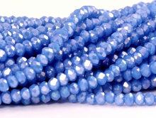 Рондели мелкие-бусины стеклянные огранённые, не прозрачный сиренево-голубой, с лёгким бензиновым напылением,