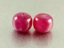 Бусина-полированная рондель, камень натуральный рубин (корунд ), цвет малиново-розовый, полупрозрачный.