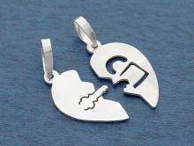 """""""Сердце""""  Одна половинка с """"замочком"""", а другая с """"ключиком"""", обе подвески имеют глянцевую поверхность с обоих сторон."""