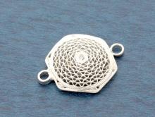 Коннектор филигрань серебряный для создания украшений, размер длина/выс/шир.-20.5х15.5х2.7 мм.,