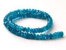 Бусина-рондель некалиброванная, ограненная, камень-апатит натуральный, очень красивый, тепло-голубого сочного цвета, прозрачный,