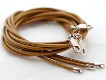 Кожаный шнурок с замком 925 пр цвет светло-коричневый