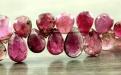 Бусина огранённая форма лепесток, камень-турмалин натуральный, цвет-розовый с малиновым (2 тона),
